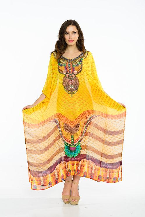 yellow KAFTAN, maxi dresses, caftan, sheer, beach dress, long