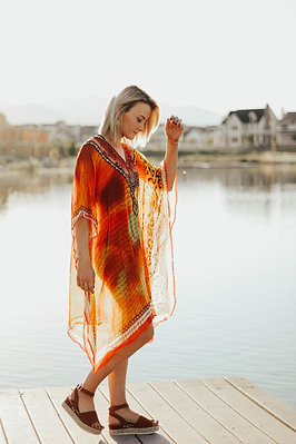 Sunset beach kaftan kneelength comfy short coverup