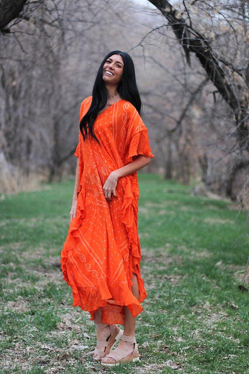 Pinch tie dye, Kaftan Maxi Dress, Women Kaftan, bandhni Kaftan, Long Kaftan