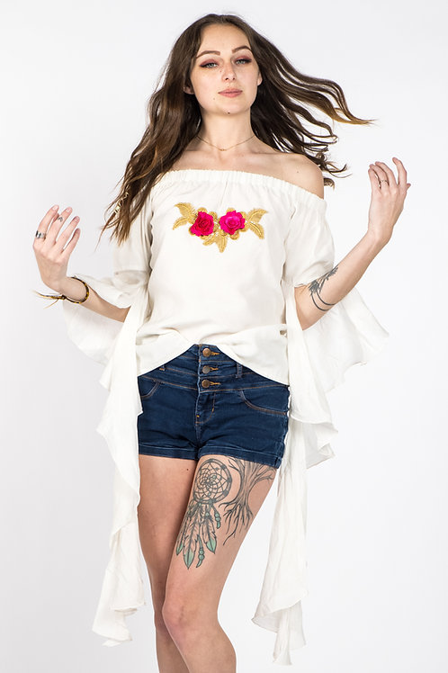 New Blossom floral romantic sleeves off shoulder top in white