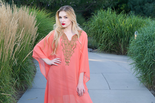 Coral, party dress, kaftan, caftan, embroidered cocktail dress