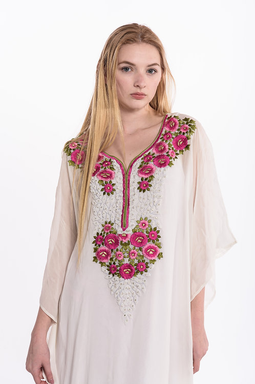 boho chic maxi summer dress, caftan with bead embroidery
