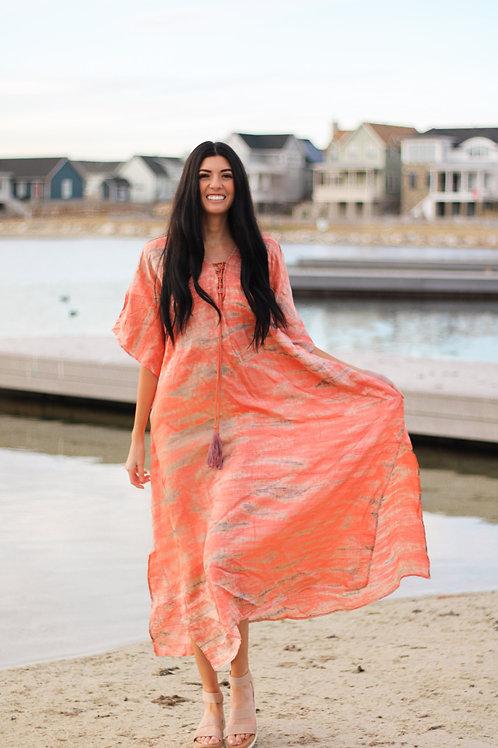 Women Silk Kaftan Dress, Tie Dye Dress By BaublesNBloom, Plus Size Available