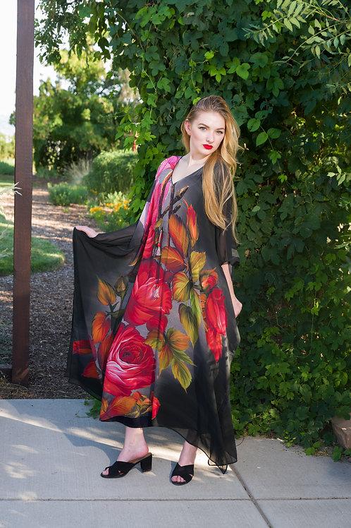 Floral KAFTAN, maxi dresses, caftan, sheer, beach dress, long