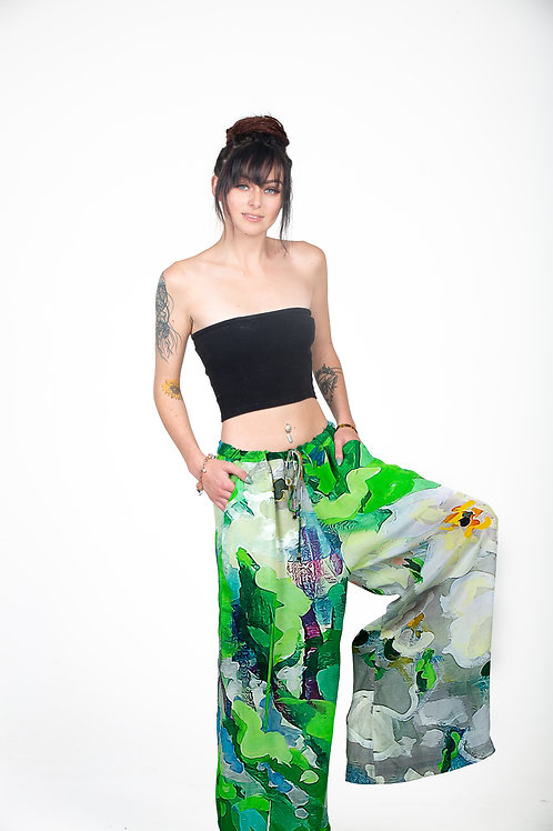 Silk palazzo pant extra comfy in vibrant digital print
