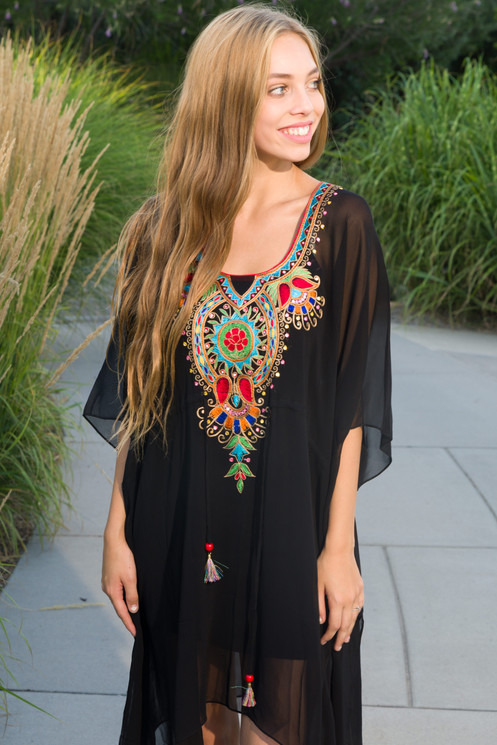 15586bb728 Black tunic, caftan, shortdress, kaftan, sheer cover up