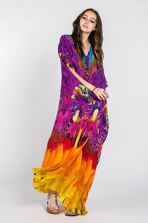 New, kaftan maxi dress, digital print, caftan, multicolor, 100% silk kaftan dres