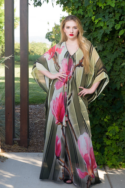 Floral KAFTAN, maxi dresses, caftan, sheer, beach dress, long