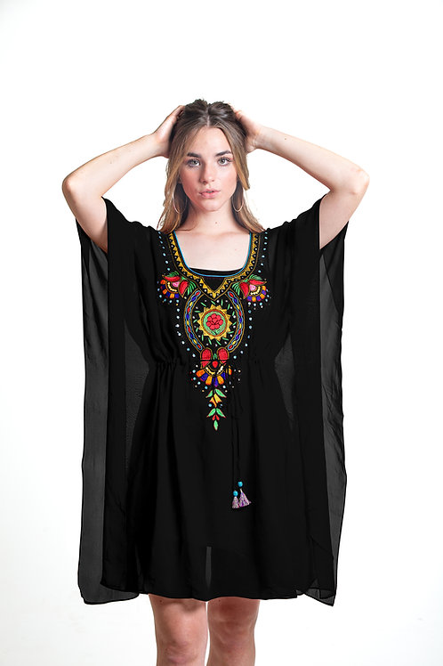 Black tunic, caftan, shortdress, kaftan, sheer cover up