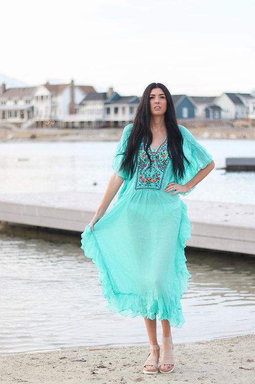 Women Kaftan Dress, Fringe Kaftan Dress, Aqua Caftan, Embroidered Dress