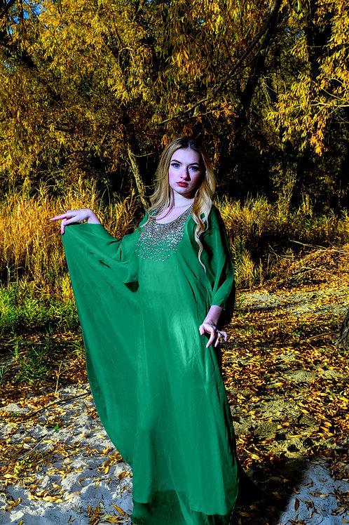 Green Kaftan, Maxi Kaftan, green Dress, Wedding Kaftan, Romantic Dress, Plus