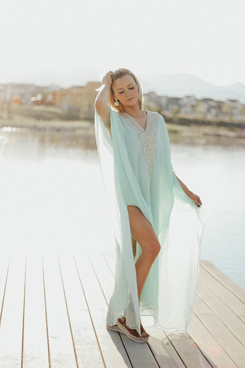 Green Kaftan dress, Maxi Kaftan, green Dress, Romantic Dress, Plus