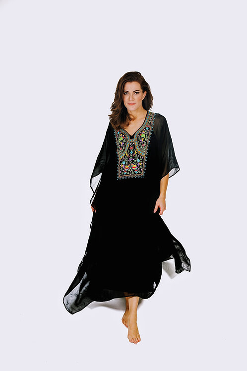 Black kaftan dress, black maxi dress, boho black dress