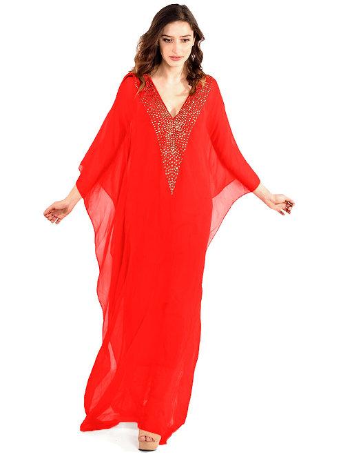 Red Kaftan, Maxi Kaftan, beach Dress, Romantic Dress, Plus size