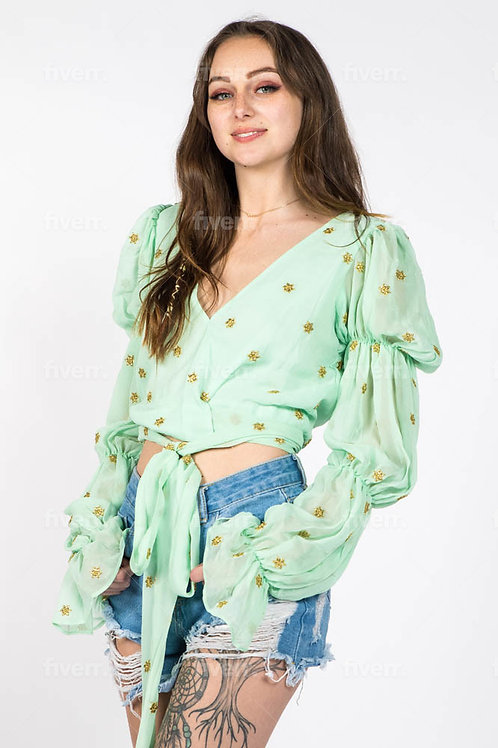Minty green floral top with romantic sheer sleeves and front tied waist