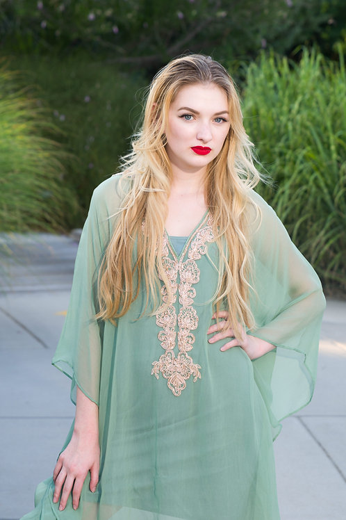 Mint green party dress, kaftan, caftan, embroidered cocktail dress