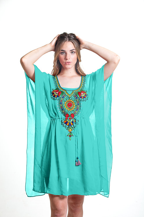 beach tunic, caftan, shortdress, kaftan, sheer cover up