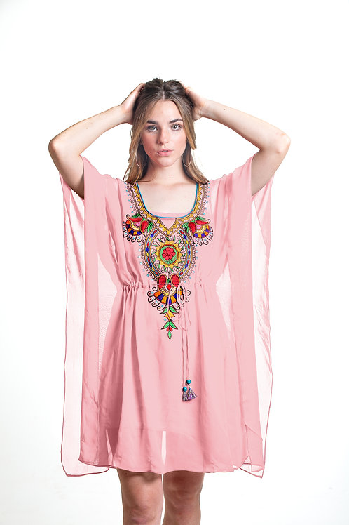 Pink tunic caftan, kaftan, shortdress, belted, sheer cover up