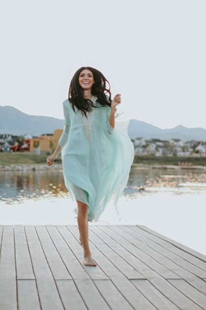 kaftan dress turquoise caftan maxi dress (Lined)