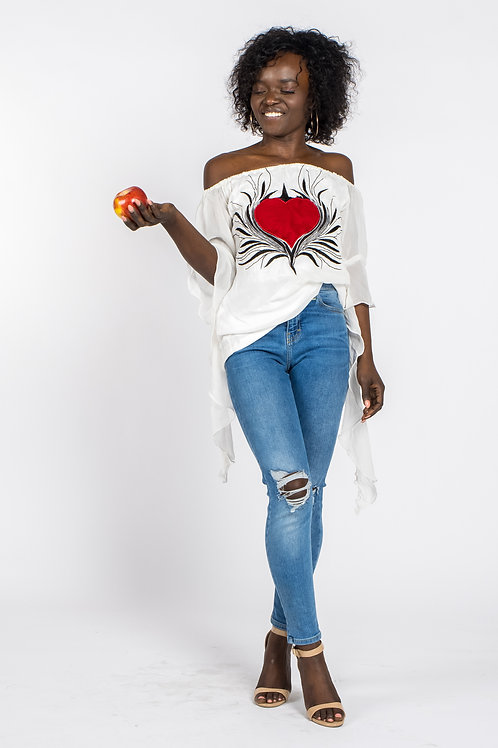 New embroidered romantic sleeves off shoulder top in white