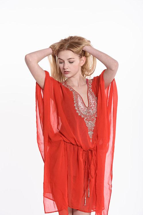 Orange tunic caftan, kaftan, shortdress, belted, sheer cover upOrange
