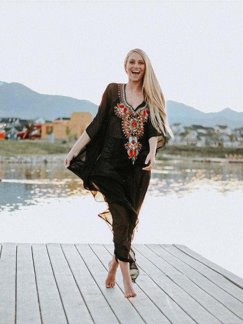 Black tunic, caftan, long dress, kaftan, sheer cover up