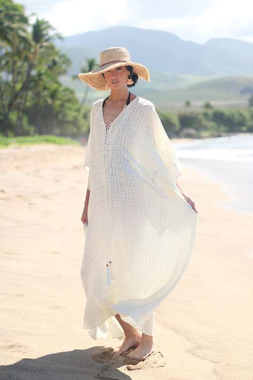 White Lace Kaftan, Beach Wedding Dress, Beach Cover Up, Lace Dress