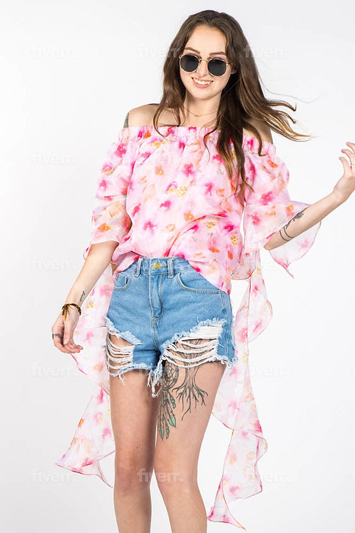 New Blossom floral romantic sleeves off shoulder top