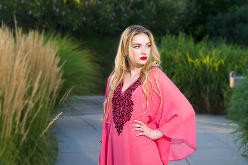 Coral tunic kaftan, short dress, sheer cover-up