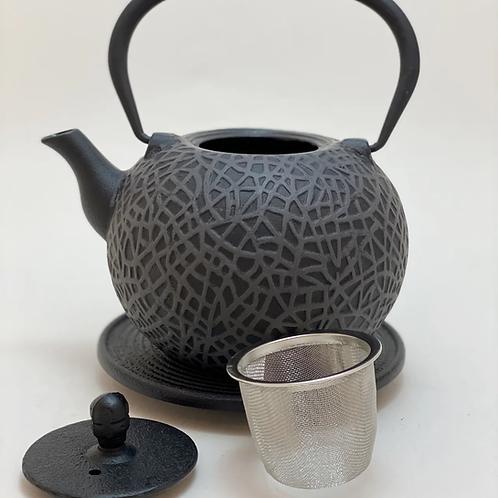 Teekanne aus Gusseisen - Schwarz/Grau 0,8l