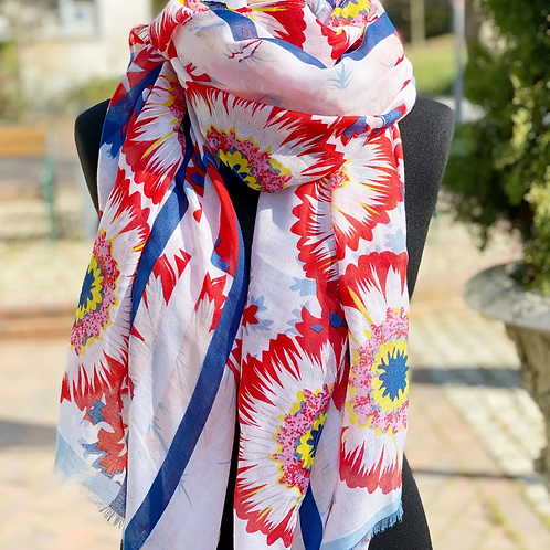 Schal mit Roten Blumen und Silber-Akzenten