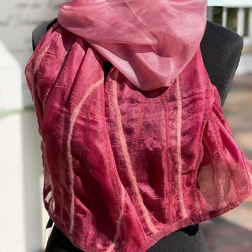 Schal - 100% Seide mit Wollfilz