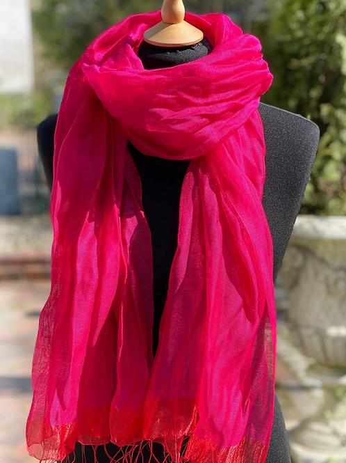 Schal mit Fransen Pink