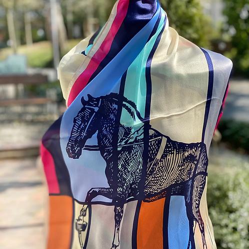 Schal - 100% Seide Pferdemotiv