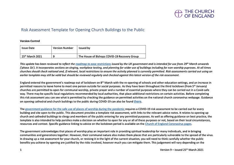 COVID 19 Parish Risk Assessment Template