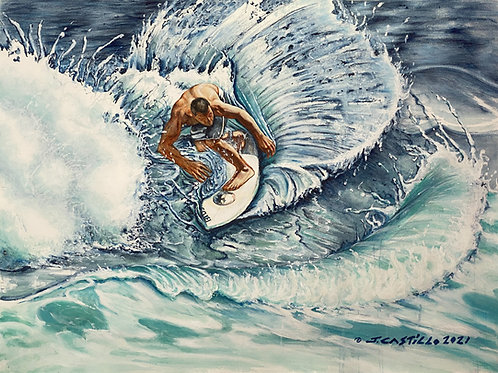 Beating the odds, Hawaiian Surfer Ripping in turbulent waters