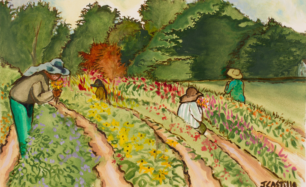 Girls Picking Flowers