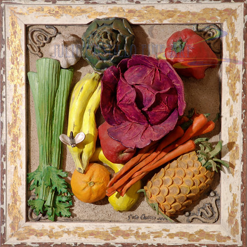 Vegetables & Fruits Sculptural Ceramic Relief