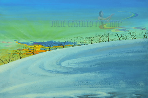 """""""Cold Day Sunset Apple Trees"""
