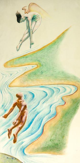 Allegory,1992, NuPastel & Gouache on Raw