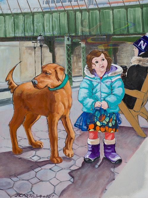 Child & Dog waiting for Master