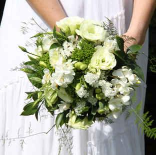 Lisianthus limonium and freesia bridal b