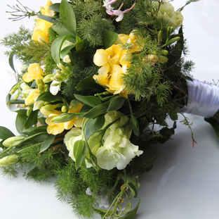 Yellow freesia bridesmaid bouquet.JPG