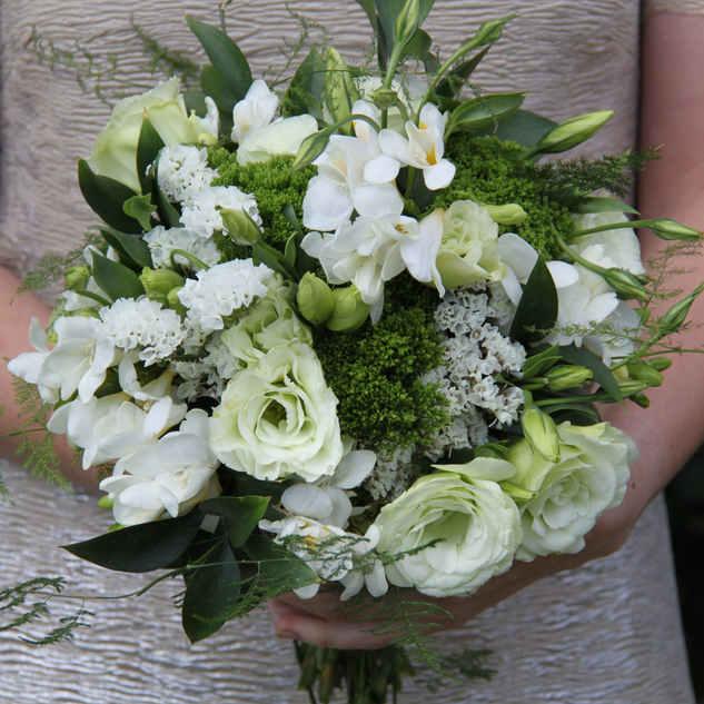 Freesia and lisianthus bridesmaid bouque