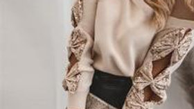 Women Fashion Sequin Bowknot Hollow Out Long Sleeve Knitwear
