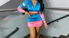 Women Fashion Color Blocking Lapel Top And Skirt Two Pieces Set