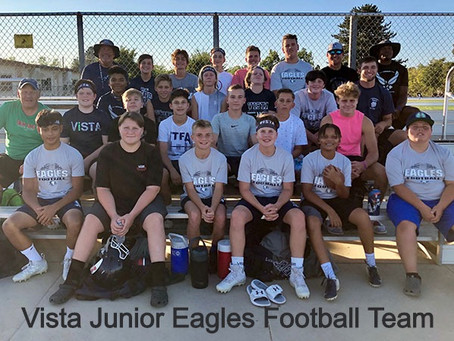 Vista Junior Eagles football team in attendance for Student Night this Saturday!
