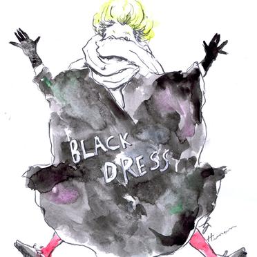 コムデギャルソンのブラックドレスから