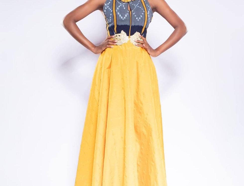 """Robe en kita """"baoulé"""" et jacquard, African Queen"""