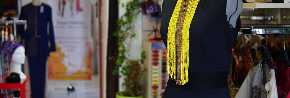Collier massai en perle jaune et dorée